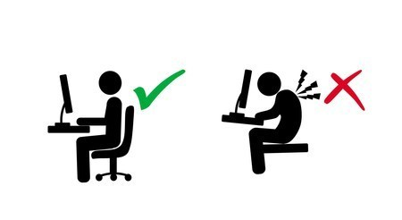 ergonomic posture of computer user and lifting load vs wrong posture in silhouette illustration